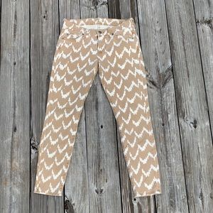 7 for all man kind tan & white cropped skinny